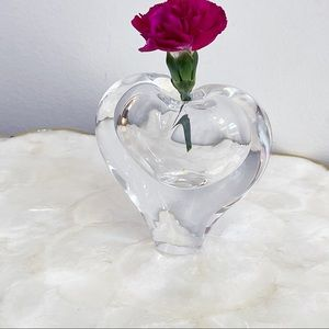 Crystal Art Glass Small Heart Bud Vase Paperweight